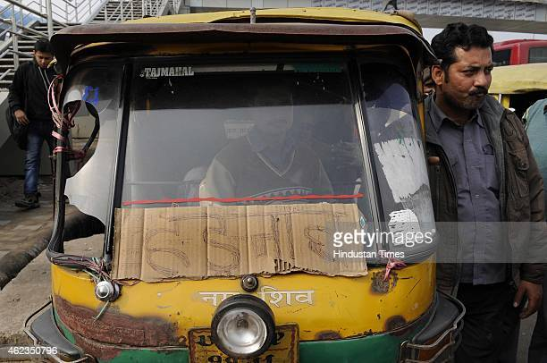 Nearly 9000 autorickshaws in the twin cities of Noida and Greater Noida went on a twoday strike on January 27 2015 in Noida India Autos go off the...