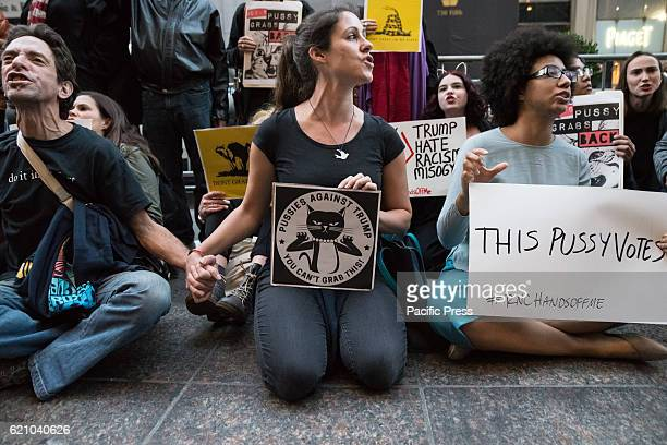Nearly a hundred demonstrators gathered outside Trump Tower in Midtown Manhattan five days before the US Presidential election to decry Republican...
