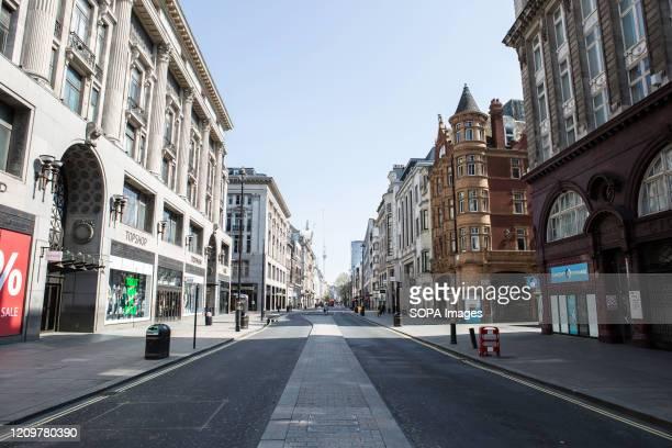 Nearly deserted Londons Oxford street during lockdown due to corona virus pandemic. Boris Johnson, announced strict lockdown measures urging people...