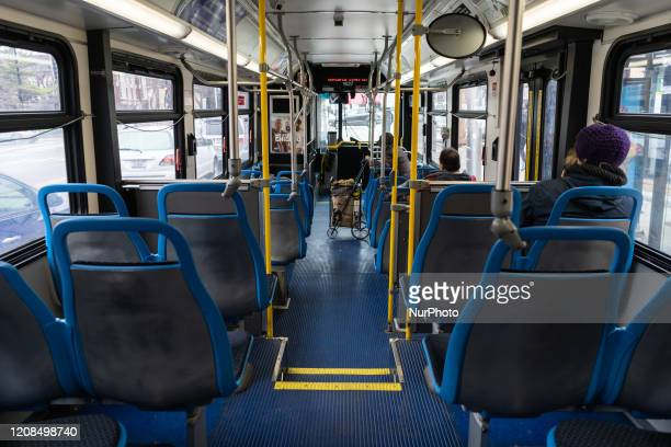 A nearly empty Chicago Transit Authority bus operates in Chicago on March 28 2020 Social distancing advisories are in place on CTA buses and trains...