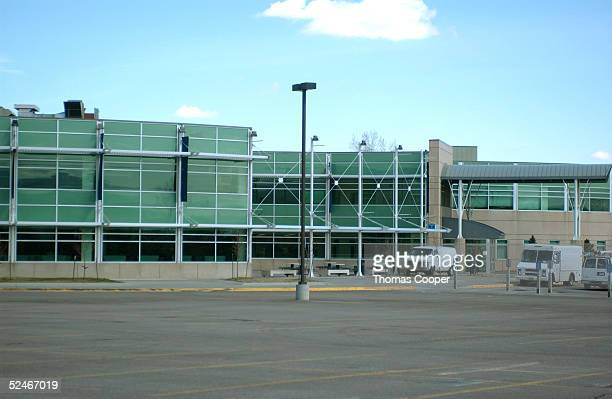 A nearly empty Columbine High School parking lot is shown as students are on spring break March 22 2005 in Littleton Colorado Jeff Weise a Red Lake...