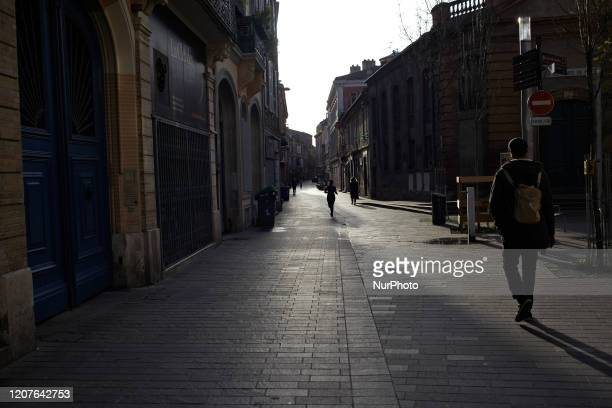 A nearly empty street in the center of Toulouse People can go outside for jogging or food shopping For the 2nd day French people are on lockdown On...