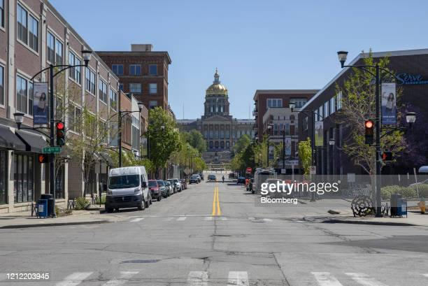 Nearly empty street is seen in the East Village neighborhood of Des Moines, Iowa, U.S., on Friday, May 8, 2020. Governor Kim Reynolds announced...