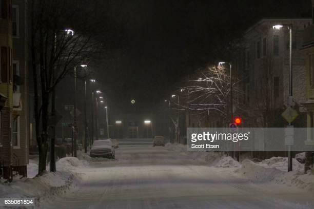 Nearly empty streets during a snow storm early February 13 2017 in Boston Massachusetts Another winter storm has brought heavy snow and wind to the...