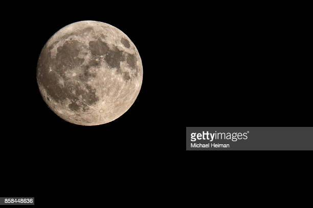 A nearly full Harvest Moon is seen on October 04 2017 in New York City