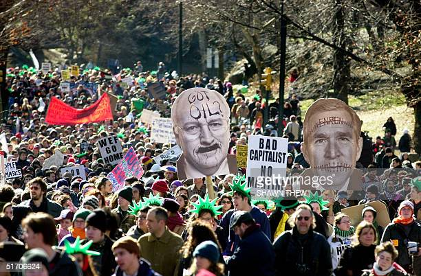 Nearly two thousand antiglobalization protesters march through New York's Central Park on their way to the Waldorf Astoria Hotel where the World...