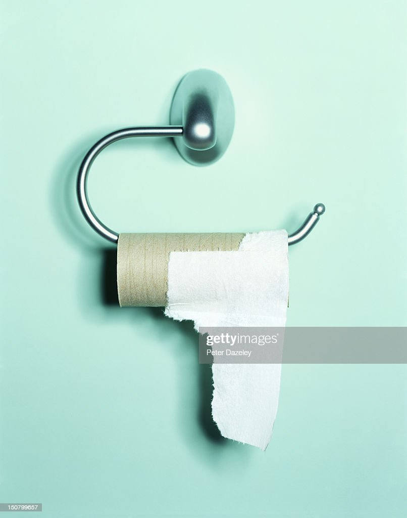 Nearly-empty toilet roll holder : Stock Photo