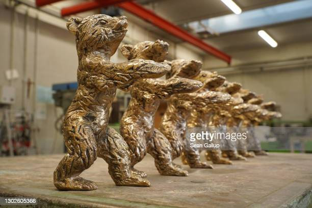 Nearly-finished Berlinale bear trophies for the 71st Berlin International Film Festival stand in a workshop at the Hermann Noack Bildgiesserei...