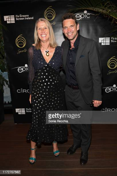 Neasa Hardiman and Dougray Scott attends prescreening cocktail reception for the world premiere film Sea Fever at Pick 6ix Sports on September 05...