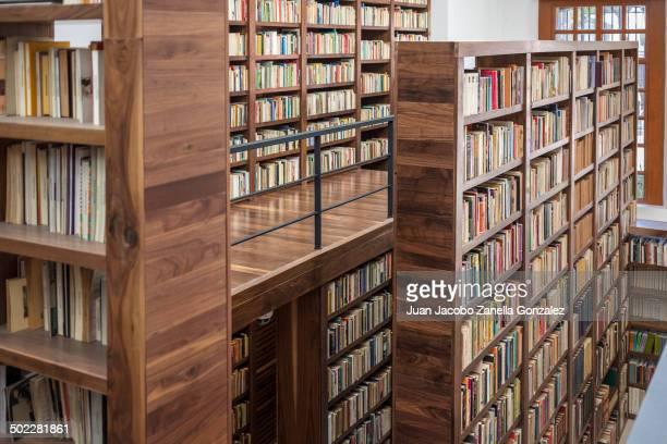 Neat arrangement of bookshelves in Mexico City public library.