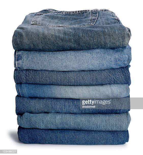 puro pilha de jeans azul - jeans calça comprida - fotografias e filmes do acervo