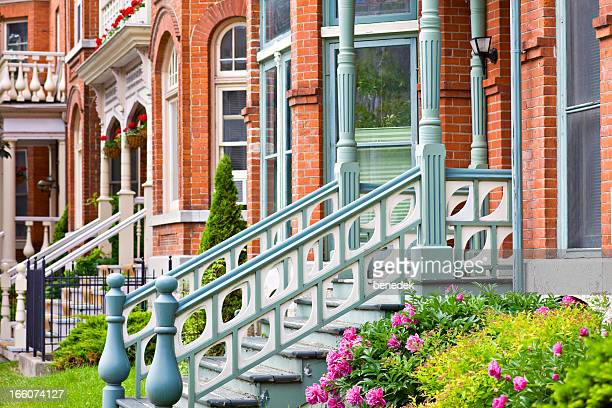 neat victorian houses - kingston ontario stock photos and pictures