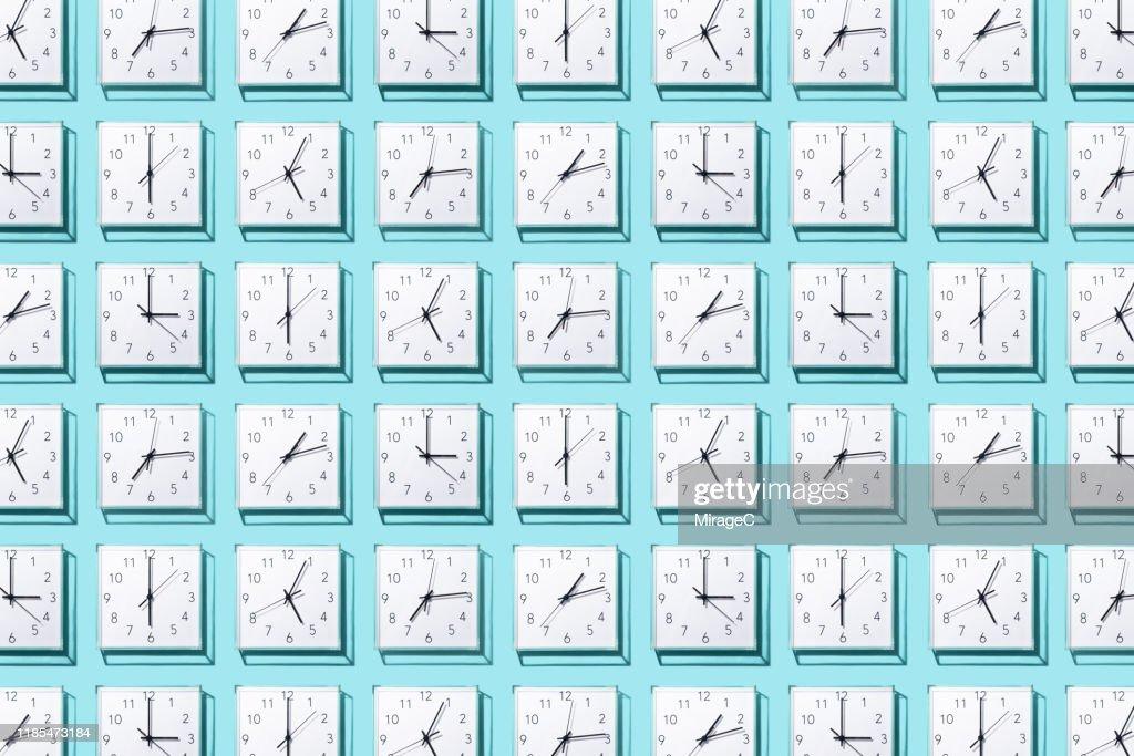 Neatly Arranged Clocks : Stock Photo