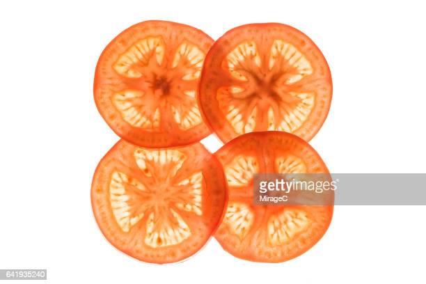 Neatly Arranged Tomato Slices