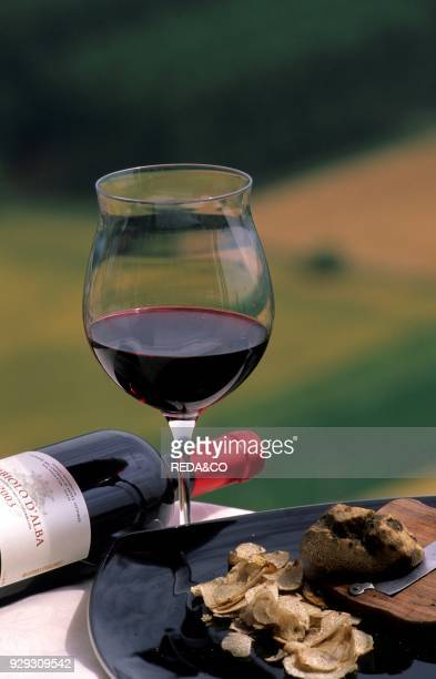 Nebbiolo d'Alba red wine and truffle Langhe Piedmont Italy