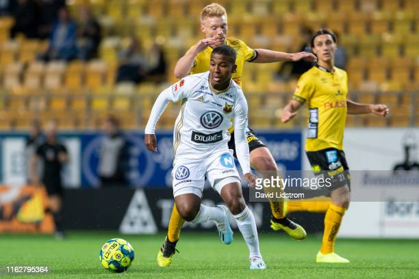 Nebiyou Perry of Ostersunds FK during the Allsvenskan match between IF Elfsborg and Ostersunds FK at Boras Arena on August 19, 2019 in Boras, Sweden.