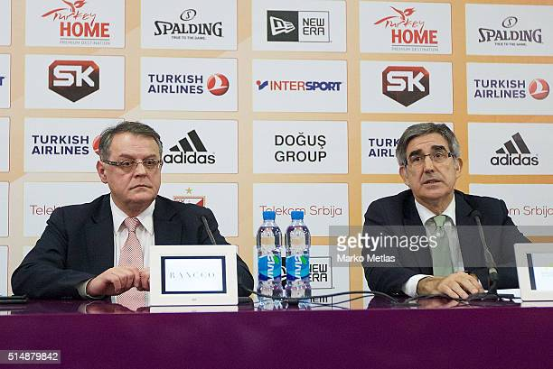 Nebojsa Covic president of Crvena Zvezda and Jordi Bertomeu Euroleague Basketball CEO and Director at the press conference before the 20152016...