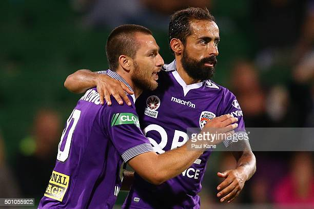 Nebojsa Marinkovic and Diego Castro of the Glory celebrate a goal during the round 10 ALeague match between the Perth Glory and the Central Coast...
