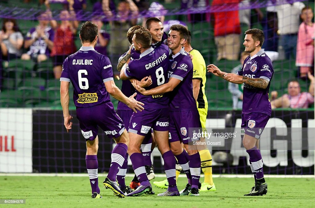 Nebojsa Marinkovic of the Glory celebrates a goal with team mates during the round 20 A-League match between Perth Glory and Brisbane Roar at nib Stadium on February 18, 2017 in Perth, Australia.