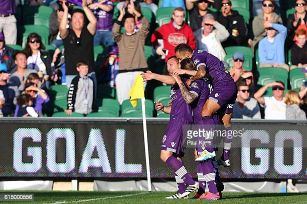 Nebojsa Marinkovic of the Glory celebrates after a goal during the round two ALeague match between the Perth Glory and the Wellington Phoenix at nib...