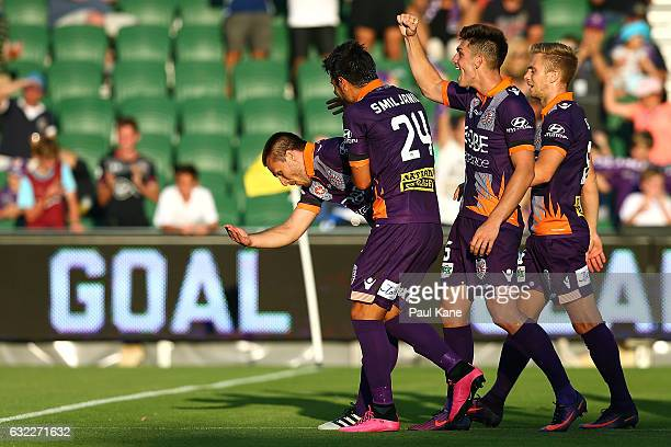 Nebojsa Marinkovic of the Glory celebrates after scoring a penalty during the round 16 ALeague match between Perth Glory and Melbourne Victory at nib...