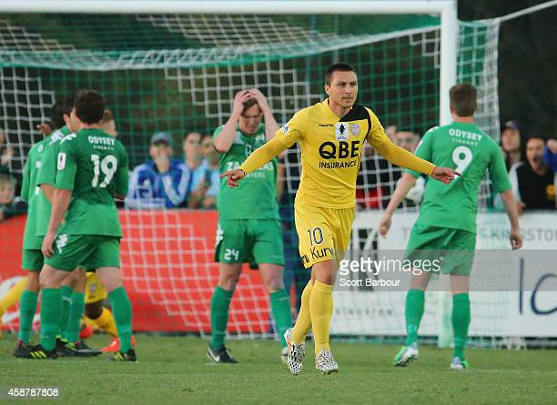 Nebosja Marinkovic of the Glory celebrates after scoring the first goal during the FFA Cup match between Bentleigh Greens and Perth Glory at Kingston...