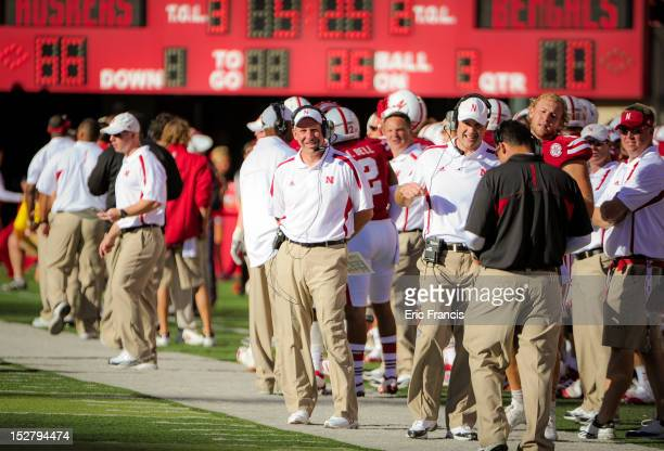 Nebraska Cornhusker head coach Bo Pelini sports a rare smile during their game against the Idaho State Bengals at Memorial Stadium on September 22...