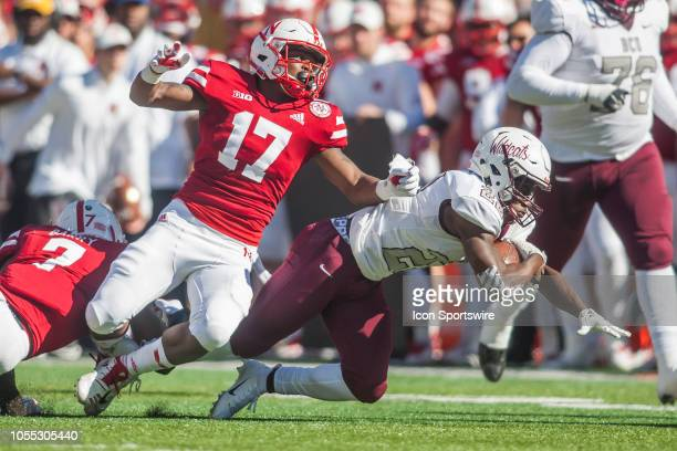 Nebraska Cornhuskers defensive back Cam Taylor brings down Bethune Cookman Wildcats wide receiver Jimmie Robinson during the game between the...