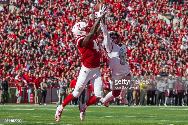 Nebraska Cornhuskers defensive back Deontai Williams intercepts a pass in the end zone over the outstretched arms of Bethune Cookman Wildcats wide...