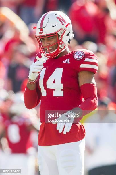 Nebraska Cornhuskers defensive back Tre Neal gets ready at his position during the game between the BethuneCookman Wildcats and the Nebraska...