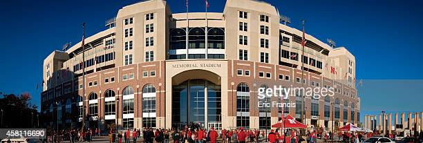 Nebraska Cornhuskers fans mingle out front before their game against the Rutgers Scarlet Knights at Memorial Stadium on October 25 2014 in Lincoln...
