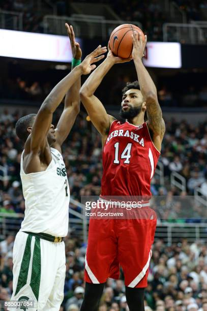 Nebraska Cornhuskers forward Isaac Copeland attempts a jump shot over Michigan State Spartans forward Jaren Jackson Jr during a Big Ten conference...