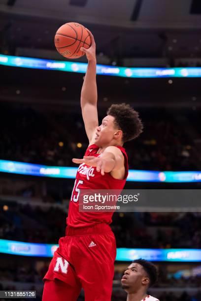 Nebraska Cornhuskers forward Isaiah Roby dunks during a Big Ten Tournament quarterfinal game between the Nebraska Cornhuskers and the Wisconsin...