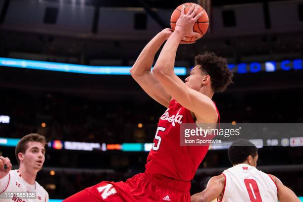 Nebraska Cornhuskers forward Isaiah Roby goes up for a shot during a Big Ten Tournament quarterfinal game between the Nebraska Cornhuskers and the...