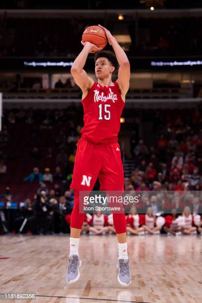 Nebraska Cornhuskers forward Isaiah Roby goes up for a shot during a Big Ten Tournament game between the Nebraska Cornhuskers and the Maryland...