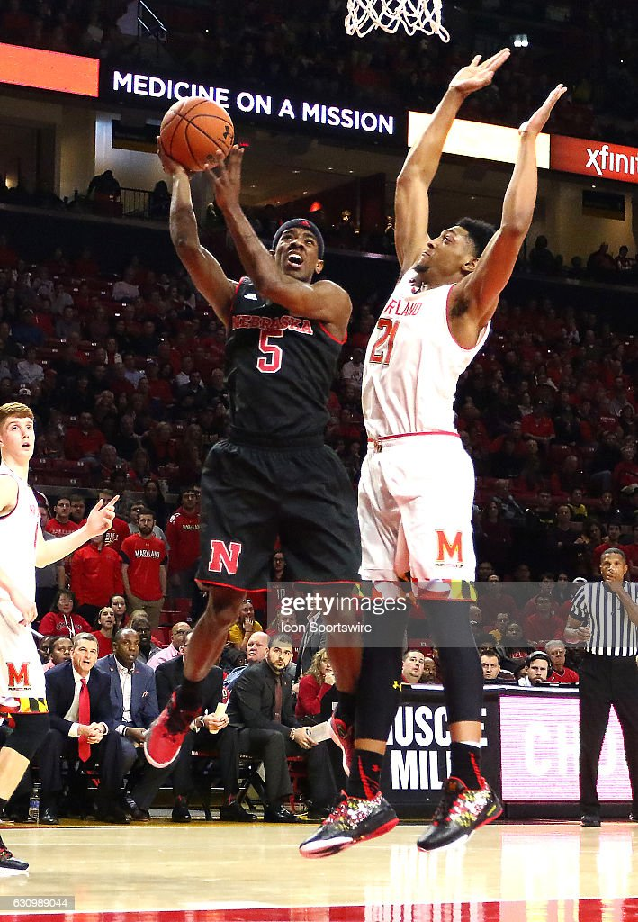 Nebraska Cornhuskers guard Glynn Watson Jr. (5) moves past Maryland Terrapins forward Justin Jackson (21) for a shot during a Big 10 men's basketball game on January 01, 2017, at Xfinity Center in College Park, MD. Nebraska defeated Maryland 67-65.