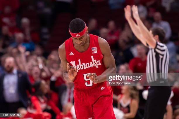 Nebraska Cornhuskers guard Glynn Watson Jr reacts and celebrates his three point shot during a Big Ten Tournament quarterfinal game between the...