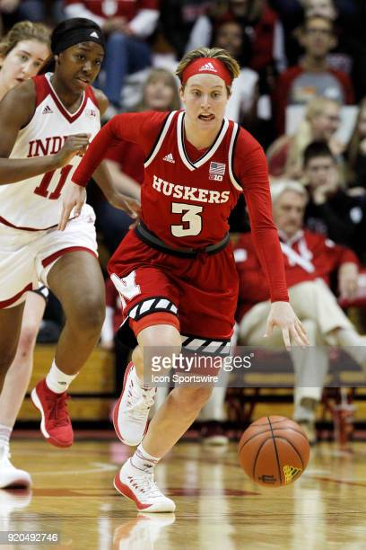 Nebraska Cornhuskers guard Hannah Whitish drives the ball up court during the game between the Nebraska Cornhuskers and Indiana Hoosiers on February...
