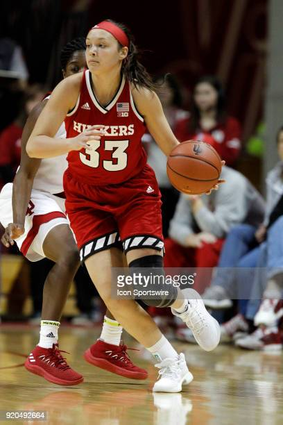 Nebraska Cornhuskers guard Taylor Kissinger in action during the game between the Nebraska Cornhuskers and Indiana Hoosiers on February 17 at...