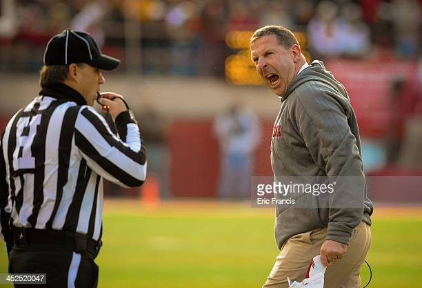 Nebraska Cornhuskers head coach Bo Pelini reacts to a call during their game at against the Iowa HawkeyesMemorial stadium on November 29 2013 in...