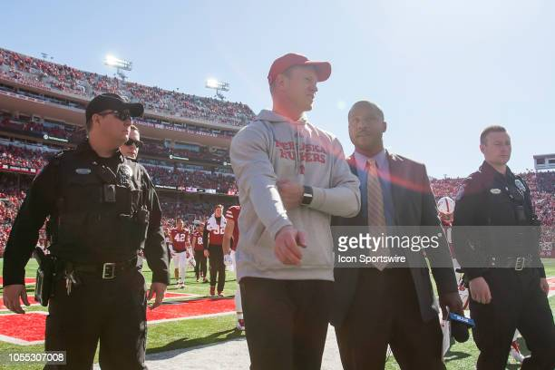 Nebraska Cornhuskers head coach Scott Frost walks back to the locker room at halftime during the game between the BethuneCookman Wildcats and the...