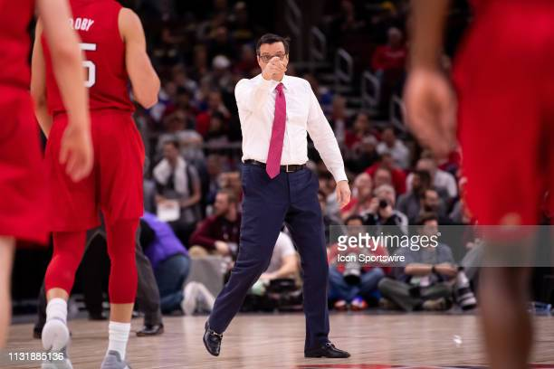 Nebraska Cornhuskers head coach Tim Miles directs players during a Big Ten Tournament quarterfinal game between the Nebraska Cornhuskers and the...