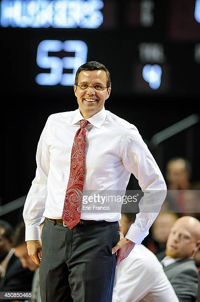 Nebraska Cornhuskers head coach Tim Miles reacts during their game against the Western Illinois Leathernecks at Pinnacle Bank Arena on November 12...