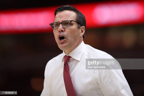 Nebraska Cornhuskers head coach Tim Miles reacts to a play in action during a Big Ten Tournament game between the Nebraska Cornhuskers and the...