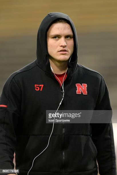 Nebraska Cornhuskers linebacker Jacob Weinmaster warms up for the Big Ten conference game between the Purdue Boilermakers and the Nebraska...