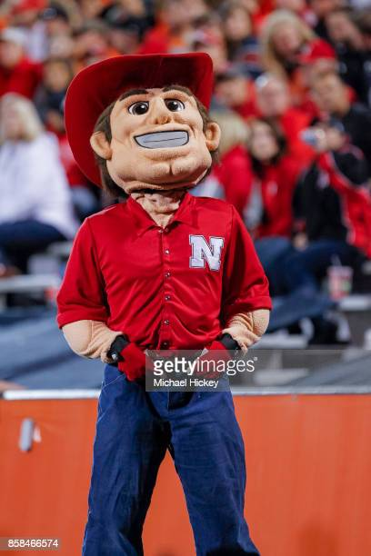 Nebraska Cornhuskers mascot Herbie Husker is seen during the game against the Illinois Fighting Illini at Memorial Stadium on September 29 2017 in...