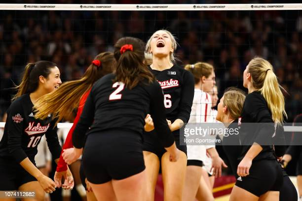 Nebraska Cornhuskers middle blocker Lauren Stivrins center celebrates after scoring a point in the 4th set during the match between the Stanford...