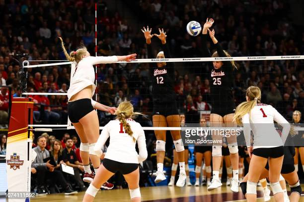 Nebraska Cornhuskers outside hitter Jazz Sweet and middle blocker Callie Schwarzenbach go up for a block attempt in the 3rd set during the match...