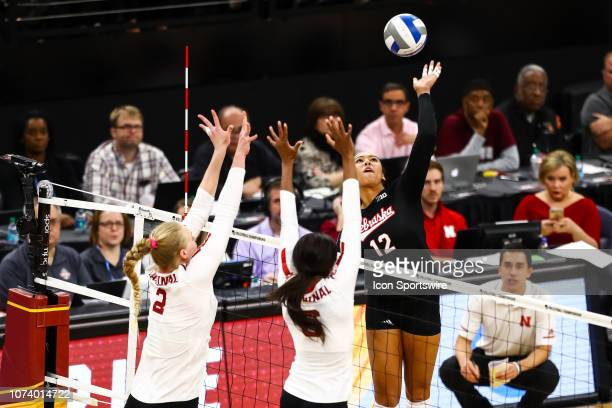 Nebraska Cornhuskers outside hitter Jazz Sweet goes up for a hit in the 1st set during the match between the Stanford Cardinal and the Nebraska...