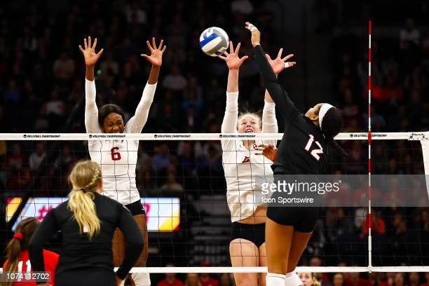 Nebraska Cornhuskers outside hitter Jazz Sweet hits the ball in the 4th set during the match between the Stanford Cardinal and the Nebraska...